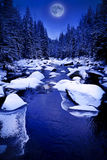 Mountain river at winter night Royalty Free Stock Photography