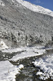 Mountain river in winter. The photo was taken in North Ossetia, in the Digor gorge Stock Image