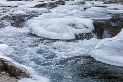 Mountain river in winter Royalty Free Stock Images