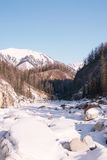 Mountain river in winter. Siberia. Stock Photo