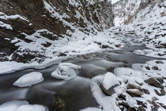 mountain river in winter time Royalty Free Stock Photo