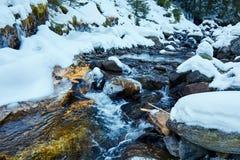 Mountain river on wintertime Stock Photos