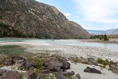 Mountain rivers Argut and Katun, Altai, Russia Stock Photography