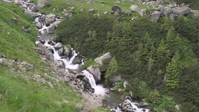 Mountain rivers and waterfalls in Transfagarasan pass at summer. Carpathian mountains in Romania, Transfagarasan is one of the mos. Transfagarasan pass in summer stock footage