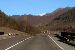 Mountain road аnd tunnel in summer. Mountain road in summer in Turkey royalty free stock images