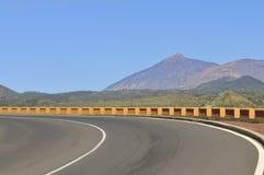 Mountain road. Modern road near volcano Teide, Tenerife Island Royalty Free Stock Photography