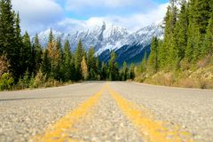 Mountain Road. In Banff national park, Alberta Canada Stock Image