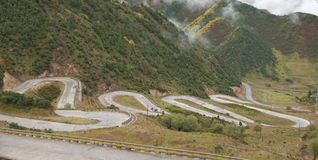 Mountain road. In Qinghai province, China Royalty Free Stock Photography