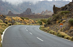 Mountain road. Turn of road, Teide National Park, Tenerife Island, Spain Royalty Free Stock Photo