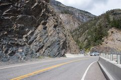 Mountain Road. Scenic, but sometimes treacherous, Highway 550, sometimes called The Million Dollar Highway, between Ouray and Silverton, Colorado, passes the Royalty Free Stock Photography