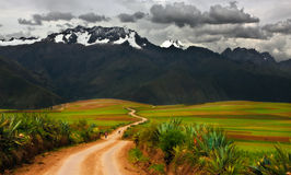 Mountain Road. Dirt road at the Sacred Valley in Peru Royalty Free Stock Photography