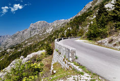 Mountain road. The road in the mountains. Montenegro Stock Images