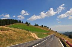 Mountain road. Paltinis, Sibiu County, a mountain road royalty free stock photo