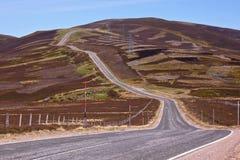 Mountain road. Picturesque road in Scottish Highlands, Cairngorm National Park near Lecht Ski Resort Stock Image