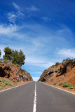 Mountain road. Through volcanic area at Tenerife, Spain Royalty Free Stock Photos