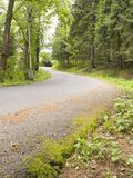 Mountain Road. A small winding mountain road in the woods Royalty Free Stock Image