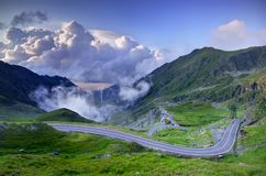 Mountain road. With clouds, Romanian Carpathians, Transfagarasan Royalty Free Stock Image