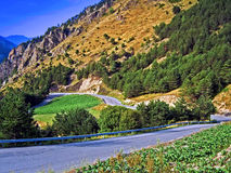 Mountain Road. In the Pyrenees (Spain Royalty Free Stock Photo