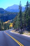 Mountain Road. Winding road in the mountains of Colorado Royalty Free Stock Image