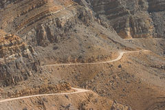 Mountain Road. A road winds through the mountains outside Khasab, Oman Royalty Free Stock Photos