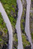 Mountain road from above. Part of Trollstigen pass in Norway as seen from viewing platform Royalty Free Stock Photos