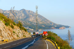 Mountain road above the coast of Budva, Montenegro Royalty Free Stock Photos