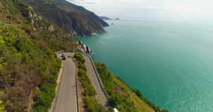 Mountain road aerial view stock video footage