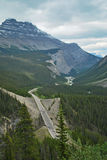 A Mountain Road,Alberta, Canada. This is one of the many spectacular views of the Rockies and glaciers to be seen on the high mountain roads Royalty Free Stock Photography