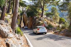 Mountain road  along the sea near the village Sa Calobra. Island Majorca, Spain Royalty Free Stock Photography