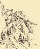 Mountain road, alpine landscape Royalty Free Stock Images