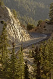 Mountain Road. Angeles Crest highway winds through San Gabriel mountains of California Stock Image