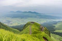 Mountain road around Mt.Aso in Kumamoto, Japan.  Stock Photos