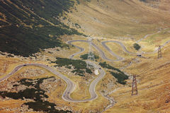 Mountain road. Autumn landscape on mountain road, Transfagarasa, Romania Stock Image
