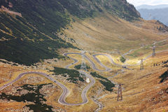 Mountain road. Autumn landscape on mountain road, Transfagarasa, Romania Royalty Free Stock Photo