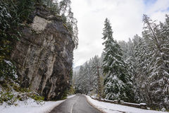 Mountain road in Bicaz Canyon, Romania, at later autumn Royalty Free Stock Images