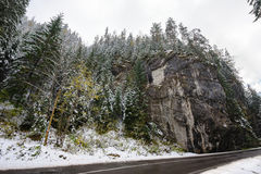 Mountain road in Bicaz Canyon, Romania, at later autumn Stock Photography