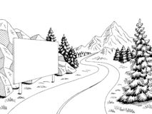 Mountain road billboard graphic black white landscape sketch illustration vector. Mountain road billboard graphic black white landscape sketch vector vector illustration