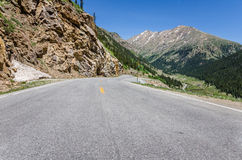Mountain Road and Blue Sky Stock Image