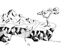 Mountain road bridge graphic art black white landscape illustration Royalty Free Stock Photos