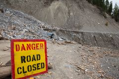 Mountain road in British Columbia closed due to rockslide stock photo