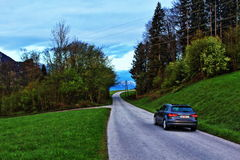 Night mountain road Royalty Free Stock Image