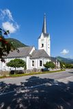 Mountain road and church. Stock Photography