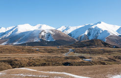 Mountain road in clear winter day, New Zealand Royalty Free Stock Photo