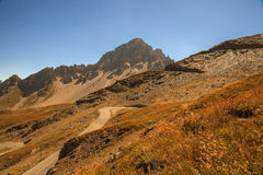 Mountain road, Col du Galibier, France Royalty Free Stock Images
