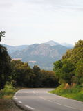 Mountain road. Corsica island, France. Early morning Royalty Free Stock Photo