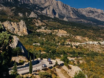 Mountain road in Crimea Royalty Free Stock Photos