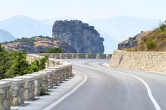 Mountain road curve in Meteora Royalty Free Stock Photography