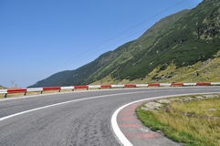 Mountain road curve to right. Fagaras mountains, alpine highway, , mountain road curve to right stock images