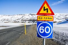 Mountain road curves. Mountain road with traffic signs Royalty Free Stock Photos