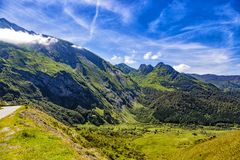 Mountain road D918 in the French Pyrenees mountains. Road D918  Col d`Aubisque, French Pyrenees. From Eaux-Bonnes to Gourette Royalty Free Stock Images